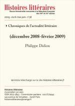 Chroniques de l'actualité littéraire – décembre 2008-Fvévrier 2009