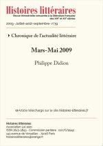 Chronique de l'actualité littéraire – Mars-Mai 2009