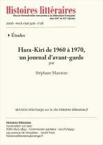 <em>Hara-Kiri</em> de 1960 à 1970,<br/>un journal d'avant-garde