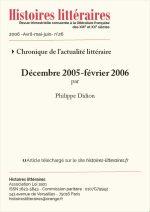 Chronique de l'actualité littéraire<br/>Décembre 2005-Février 2006