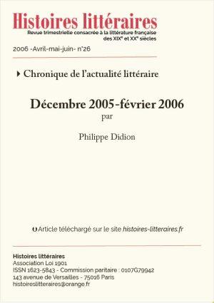 Couv Actualité littéraire 26