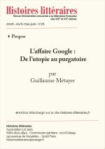 L'affaire Google :<br/>de l'utopie au purgatoire
