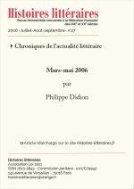 Chroniques de l'actualité littéraire<br/>Mars-Mai 2006