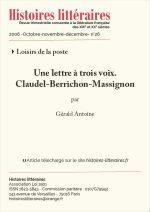 Une lettre à trois voix :<br/> Claudel-Berrichon-Massignon