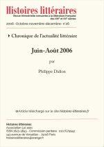 Chronique de l'actualité littéraire<br/>Juin-Août 2006