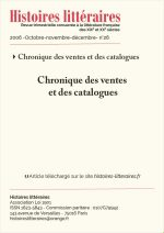 Chronique des ventes et des catalogues