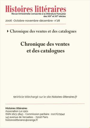 Couv. chronique des ventes