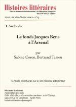 Le fonds Jacques Bens à l'Arsenal