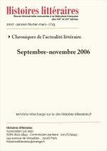 Chroniques de l'actualité littéraire<br/>Septembre-novembre 2006