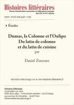 Dumas, la Colonne et l'Oulipo<br/> Du latin de colonne<br/> et du latin de cuisine