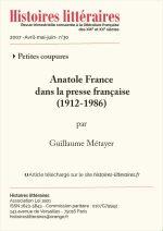 Anatole France dans la presse française</br>(1912-1986)