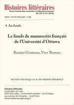 Le fonds de manuscrits français<br> de l'Université d'Ottawa