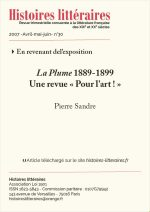 La Plume 1889-1899<br>Une revue « Pour l'art ! »