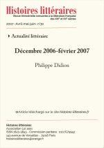Chronique de l'actualité littéraire<br>Décembre 2006-février 2007