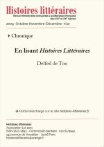 En lisant <em>Histoires Littéraires</em> n°39