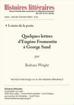 Quelques lettres d'Eugène Fromentin à George Sand