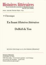 En lisant <em>Histoires littéraires</em> n°40