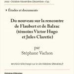 Du nouveau sur la rencontre<br> de Flaubert et de Balzac<br> (témoins Victor Hugo et Jules Claretie)