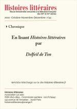 En lisant <em>Histoires littéraires</em> n°43