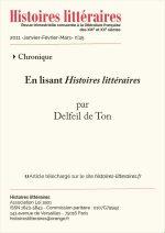 En lisant <em>Histoires littéraires</em> n°44