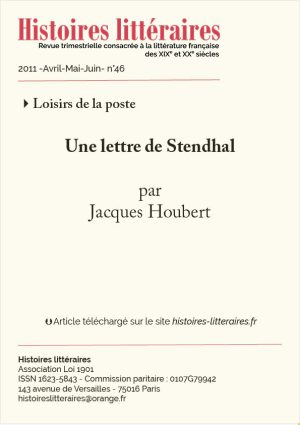 Couv. Une lettre de Stendhal