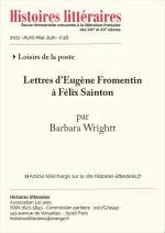 Lettres d'Eugène Fromentin à Félix Sainton