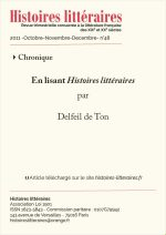 En lisant <em>Histoires littéraires</em> n°47