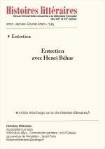 Entretien avec Henri Béhar