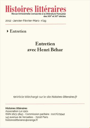 Couv. Henri Béhar