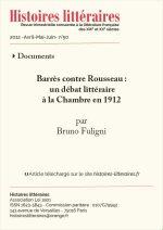 Barrès contre Rousseau :<br> un débat littéraire à la Chambre en 1912