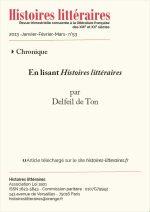 En lisant <em>Histoires littéraires</em> n°52